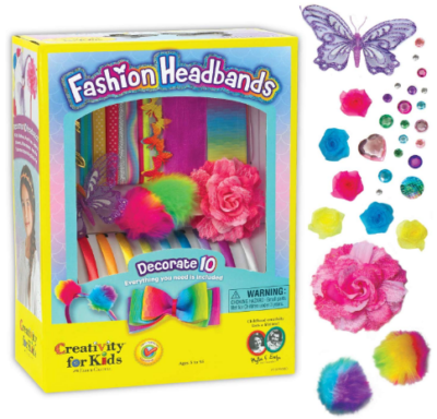 This is an image of girl's headbands craft kit in colorful colors