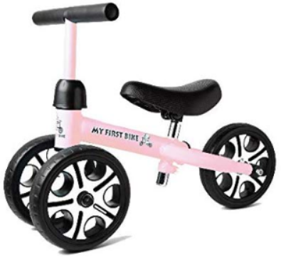 This is an image of toddler's balance bike with height seat and 3 wheels in pink color
