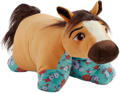 This is an image of kid's horse plush toy in brown color
