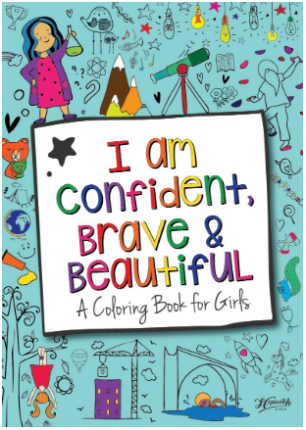 This is an image of girl's coloring book named i am confident brave and beautiful