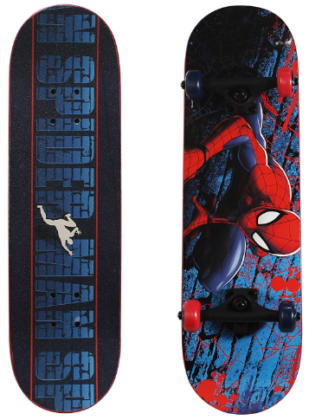 This is an image of kid's skateboard with spider man graphics