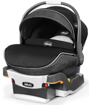This is an image of infant's car seat by chicco in black and gray colors