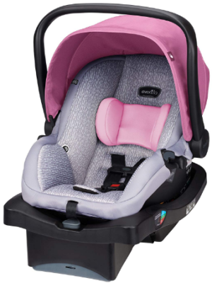 This is an image of infant's car seat by evenflo in pink and gray colors