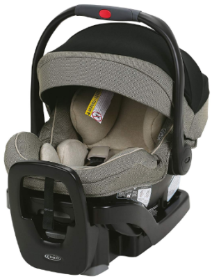 This is an image of infant's car seat by graco in black and gray colors