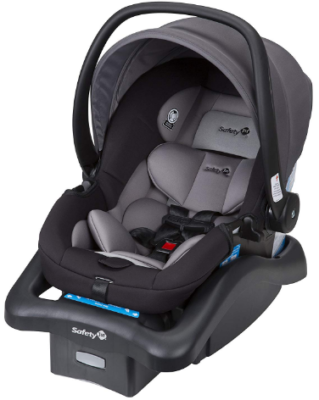 This is an image of infant's car seat in black and gray colors