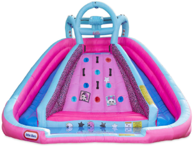 This is an image of girl's river race slide with blower in blue and pink colors