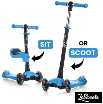 This is an image of kid's kick scooter with removable seat in blie color