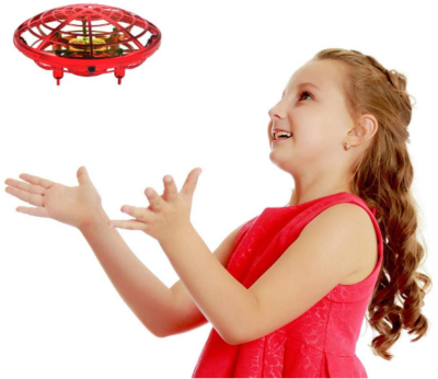 This is an image of girl's hand controlled drone in red color