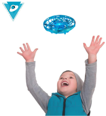 This is an image of boy's drone with hand controling in blue color
