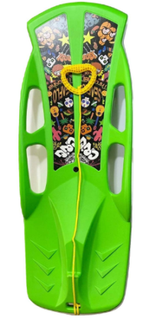 This is an image of kid's snow sled in green color