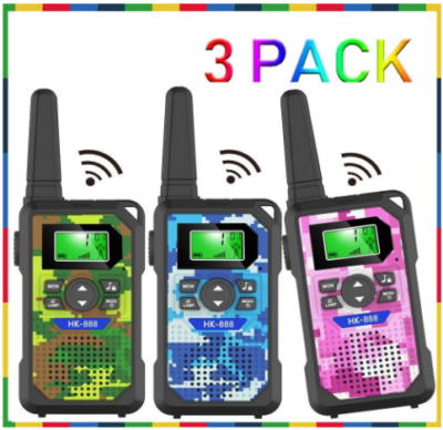 This is an image of girl's walkie talkies pack in camoflage green, blue and pink colors