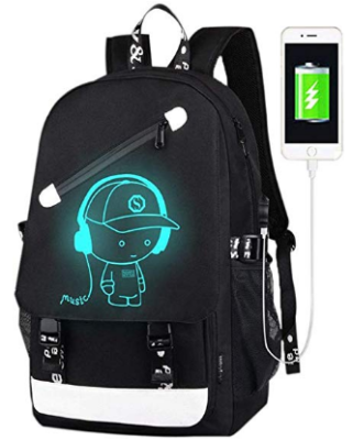 This is an image of boy's Luminous Backpack with usb charger in black color