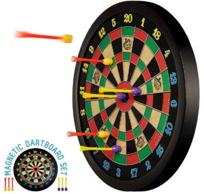 This is an image of boy's Magnetic dart board set in black color