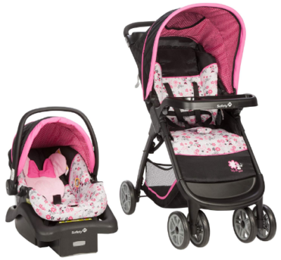 This is an image of infant's car seat pack with minnie mouse graphics in pink color