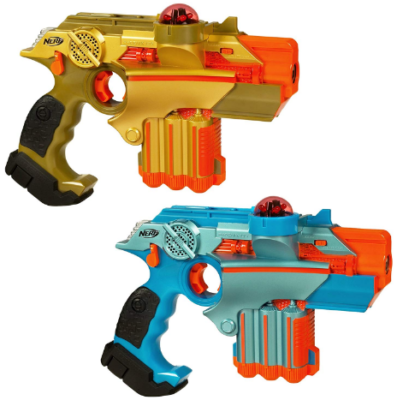 This is an image of kid's nerf lazer tag pack in blue and yellow colors