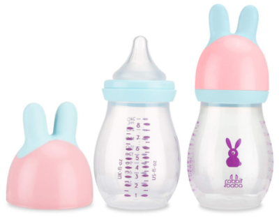 This is an image of baby's bottle in pink color