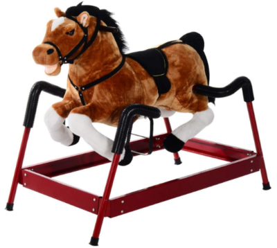 This is an image of kid's plush bouncing horse with realistic sounds in brown and white colors