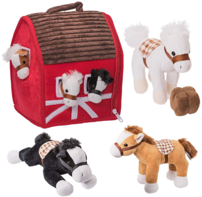 This is an image of kid's plush farm house with sof and cuddly horses pack in colorful colors