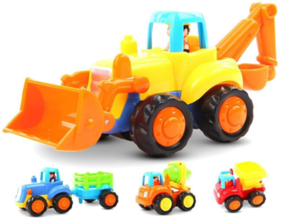 This is an image of boy's constructions vehicles toys in colorful colors