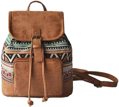 this is an image of girl's purse backpack in brown color