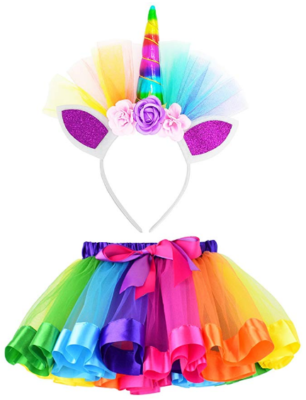 This is an image of girl's rainbow skirts with unicorn horn headband in colorful colors