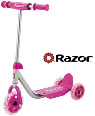This is an image of kid's kick scooter with 3 wheels by Razor in pink color