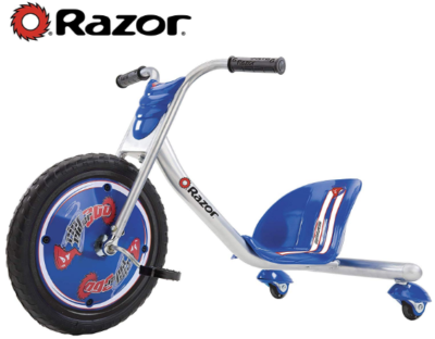 This is an image of boy's riprader bike with 3 wheels by Razor in blue and silver colors
