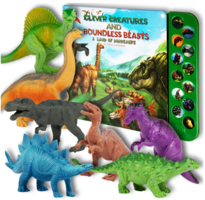 This is an image of boy's realistic dinosaurs pack toys in colorful colors