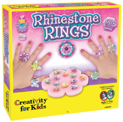 This is an image of girl's Rhinestone rigns in colorful colors