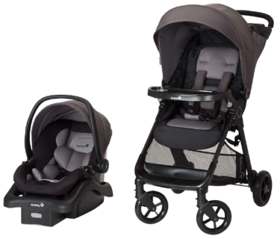 This is an image of infant's ride and infant car seat in gray and black color