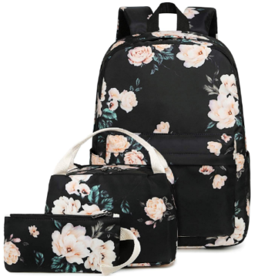 This is an image of girl's school backpack set with flowers graphics in black and pink colors
