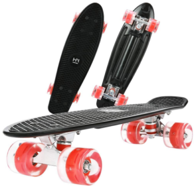 This is an image of kid's skateboard 22 inch and LED wheels with repair kit in black color