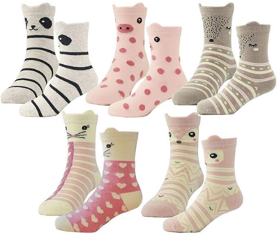 This is an image of girl's socks pack in colorful colors