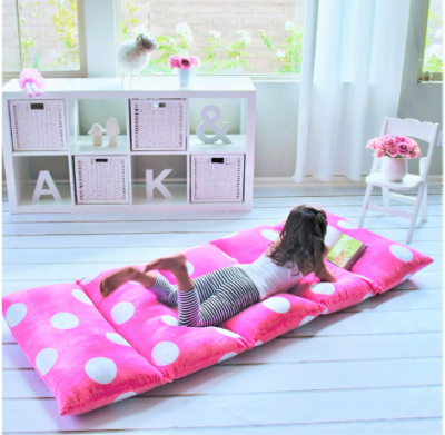 This is an image of girl's soft pillow cover in pink and white colors