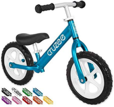 This is an image of Toddler's sports balance bike in bmue and white colors