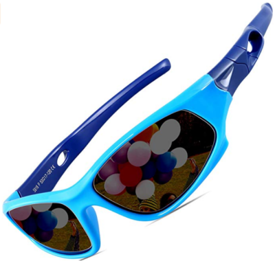This is an image of boy's sports sunglacess in blue color