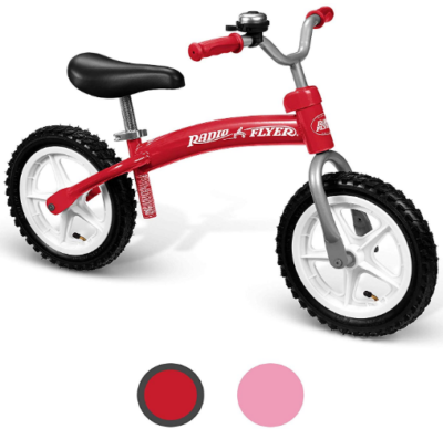 This is an image of toddler's terrain balance bike by Radio flyer in red color