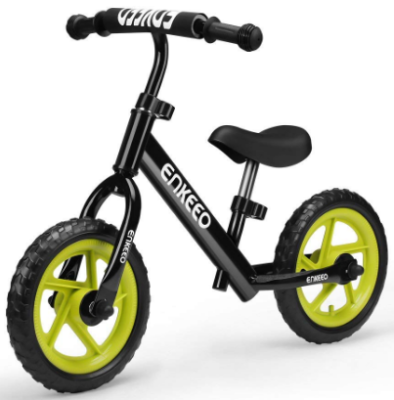 This is an image of toddler's sport balance bike in black color