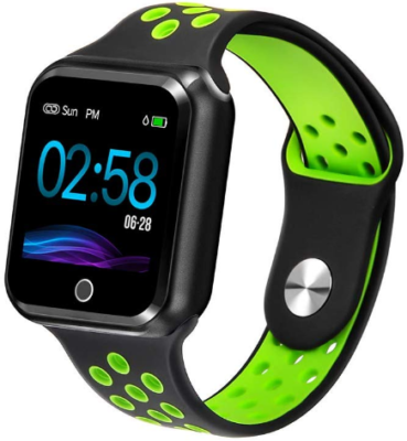 This is an image of boy's smart watch with tracker for heart rate in green and black colors