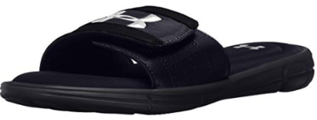 This is an image of boy's under armour sandal in black color