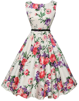 This is an image of girl's vintage dress with belt and flowers design