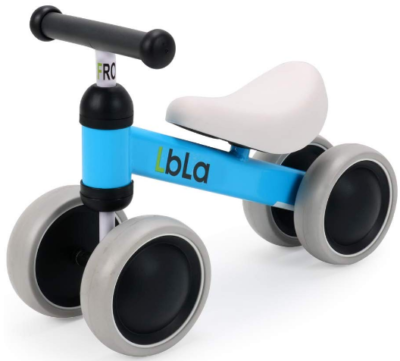 This is an image of toddler's walker balance bike in gray and blue colors