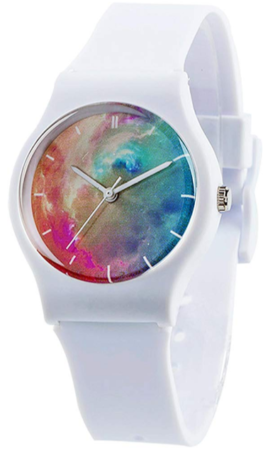 This is an image of girl's watch with soft band in white color