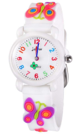 This is an image of girl's analog waterproof watch with butterfly graphics in white colors