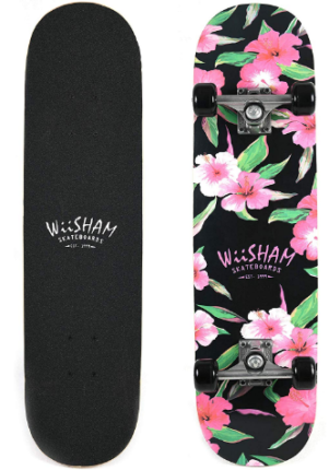 This is an image of kid's skateboard with flowers graphics by Wiisham