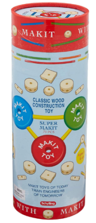 This is an image of kid's wood construction building set toy