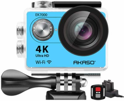This is an image of a royal blue 4K action camera.