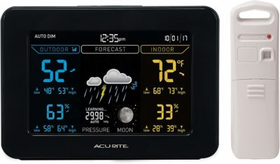 This is an image of a black weather forecaster device by AcuRite.