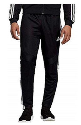 This is an image of a black and white adidas training pants for teenage boys.