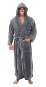 This is an image of a man wearing a steel gray fleece robe with hood by Alexander Del Rossa.